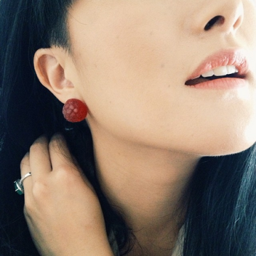 Cheryl Lin raspberry earrings eat me do